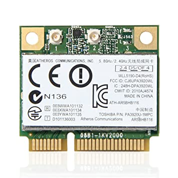 Atheros AR9832 AR5BHB116 2.4/5 GHz Single-chip 300 Mbps 802.11n MINI PCI-E Wireless Card