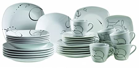 Mäser Chanson Series 30 Piece Porcelain Crockery Dinnerware Set Coffee Cups and Saucers  sc 1 st  Amazon UK & Mäser Chanson Series 30 Piece Porcelain Crockery Dinnerware Set ...