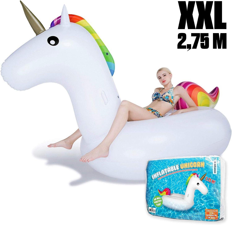 mikamax – Inflatable Unicorn - Flotador de Unicornio - Unicornio Inflable Gigante – Blanco – 2.75m - Flotadores Gigantes Unicornio - Accesorios para Playa - Pool Floats: Amazon.es: Juguetes y juegos