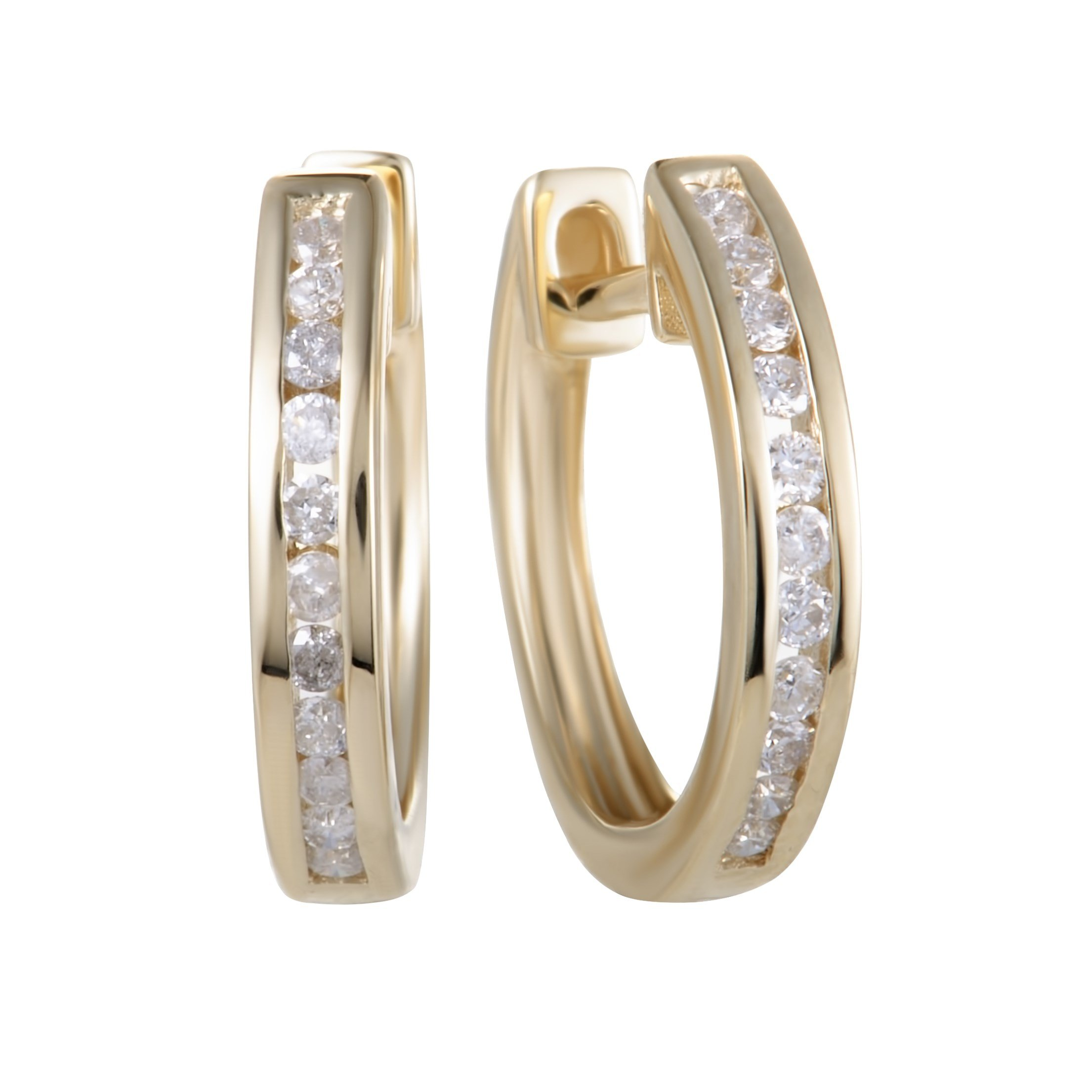 0.25 Carat (ctw) Round Diamond Hoop Earrings; 1/4 CT White Diamonds (G Color, SI1-SI2 Clarity) in 0.5'' 14K Yellow Gold Hoops
