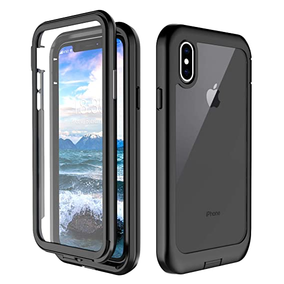 new style c10ed dd15e iPhone XS Case, iPhone X Case, Singdo Built-in Screen Protector Cover 360  Degree Protection Shockproof Case Compatible with iPhone XS/X (5.8 inch)