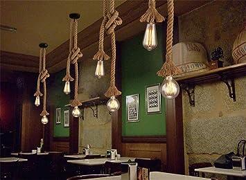 Plafoniere Industriali Vintage : Retro stile industriale corda di canapa vintage light fixture