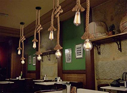 Retro stile industriale corda di canapa vintage light fixture