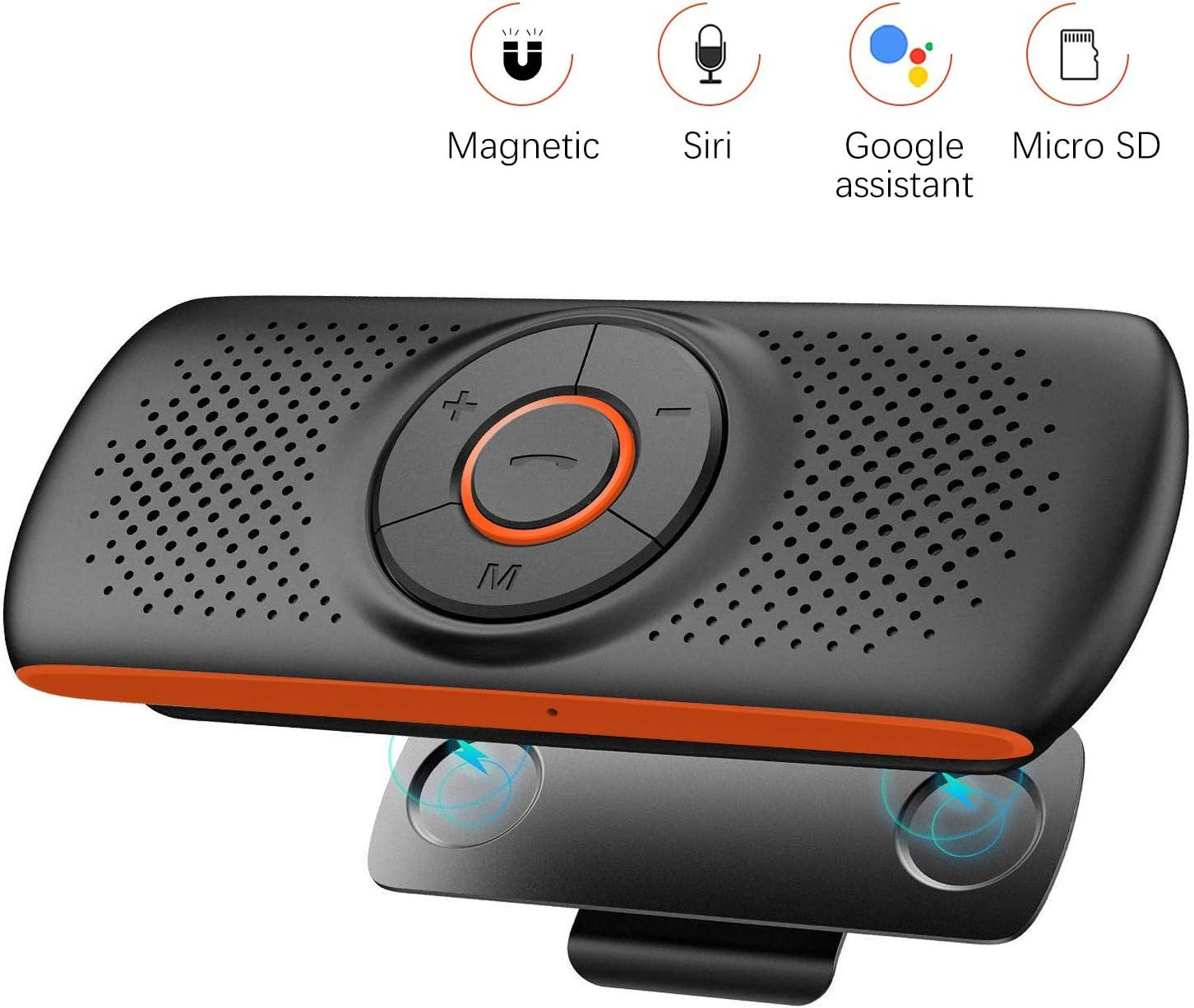 NETVIP Manos Libres Coche Bluetooth 4.2 con Siri y Google Assistant Kit de Coche Altavoz Inalámbrico para Visera Altavoz Inalámbrico Magnético Conexión de 2 teléfonos simultáneamente Apoyo Tarjeta TF