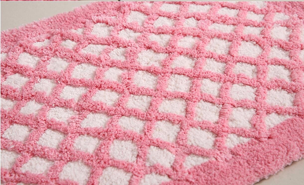 Bathroom mats door mats bedroom hallway absorbent mats anti-skid mats for bathroom and kitchen -3550cm Pink Plaid