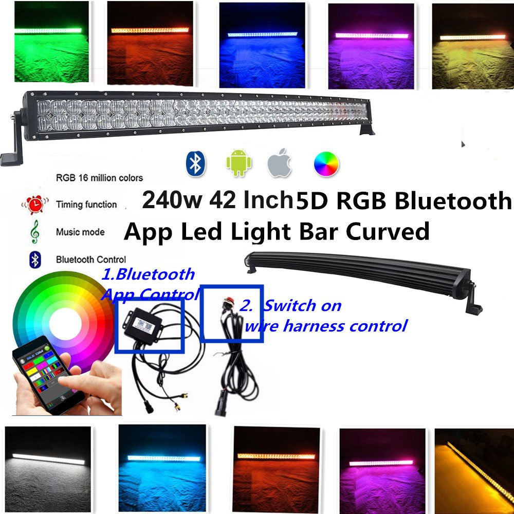IOV LIGHT 240W 42 Inch 5d RGB Led Light Bar Curved CREE Led Chips Spot Flood Combo Beam Bluetooth App and Switch Control RGB Strobe Light Bar Music Modes free Wire Harness