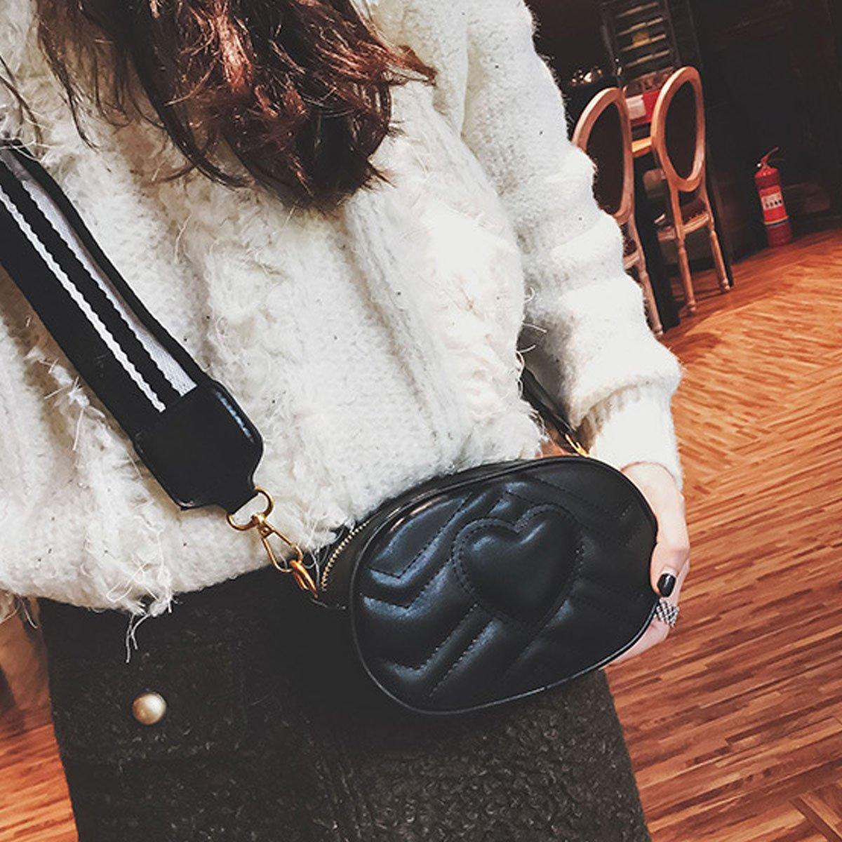 Mily Fashion Women Elegant PU Leather Waist Bag Love Shape Pattern Embroidery Cross Body Bag Fanny Packs by Mily (Image #2)