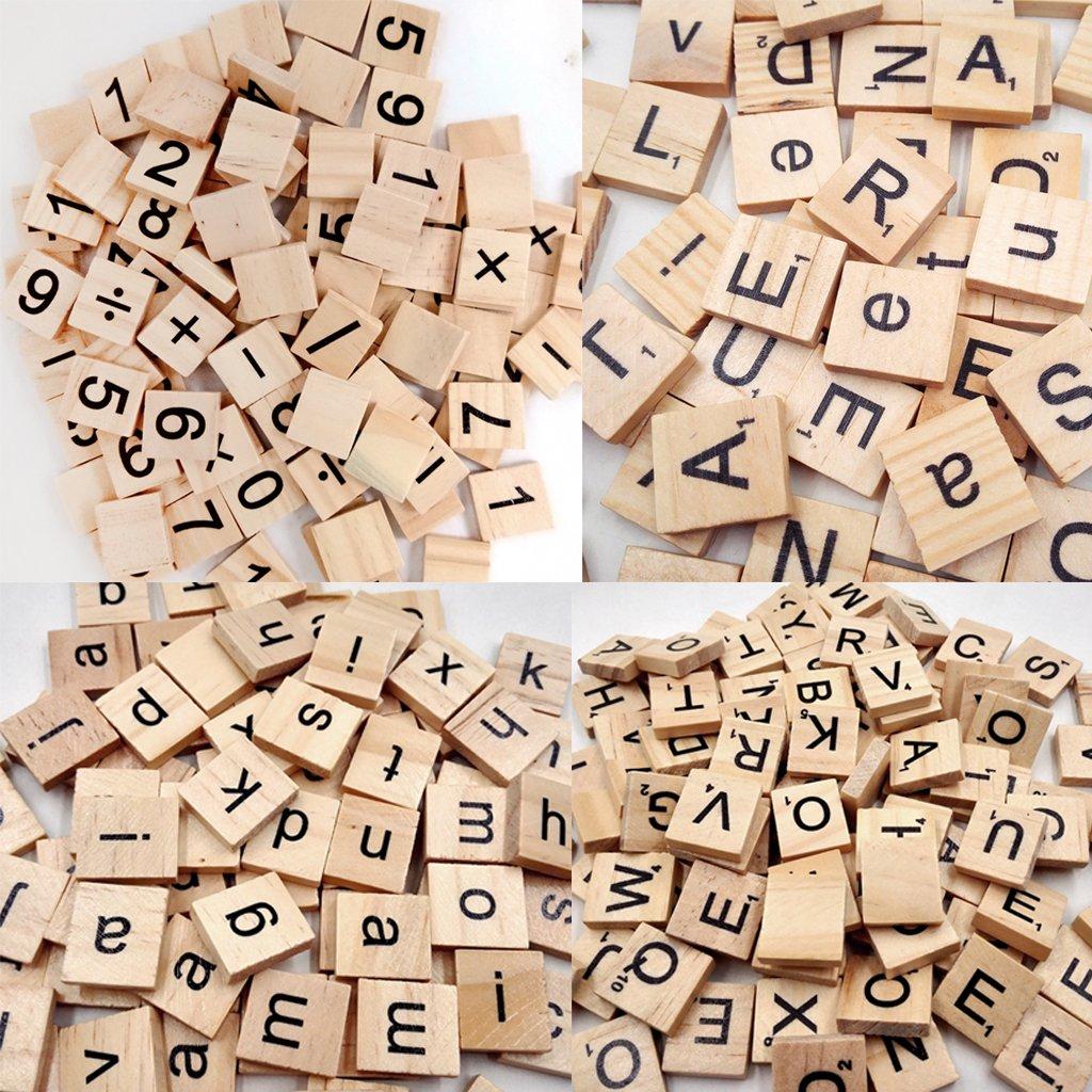 100 Azulejos Cuadrados Educativos De Madera Letras De Madera Scrapbook: Amazon.es: Ropa y accesorios