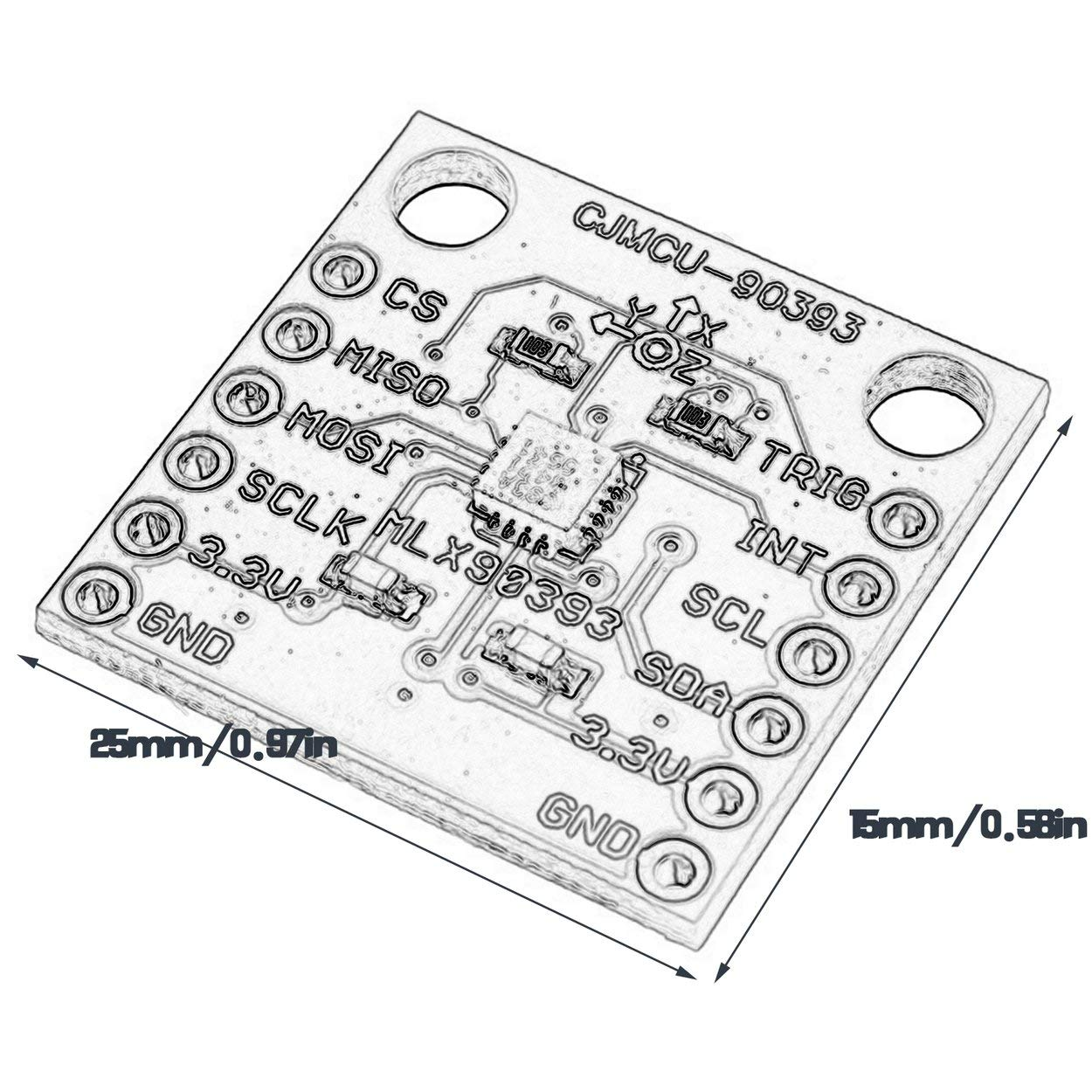 anyilon Cjmcu-90393 Mlx90393 Digital 3D Hall Sensor Displacement Angle Rotate 3D