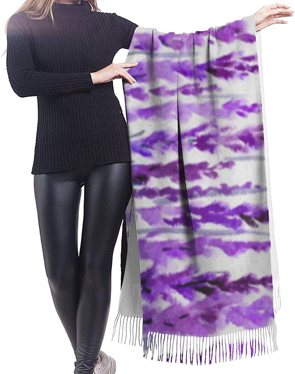 Fashion Lady Shawls,Comfortable Warm Winter Scarfs Soft Cashmere Scarf For Women Grass Lavender Watercolor Paint Of Violet Blossom Flower Herbal