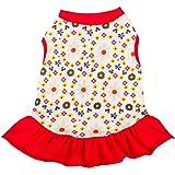 Blueberry Pet Polo Shirt Tshirt Dress Red & Sunshine Yellow Floral Dog Dress