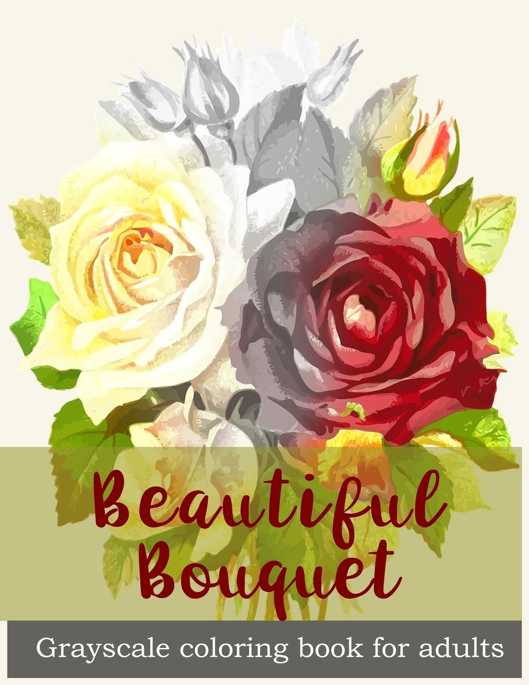 Amazon Beautiful Bouquet Grayscale Coloring Book For Adults