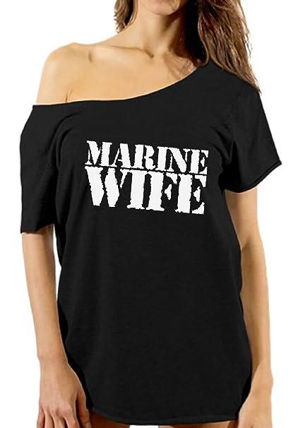 e4e06e91 Vizor Marine Wife Off Shoulder Tshirt Proud Marine Wife Shirt Valentine  Marine Wife Gifts For Her