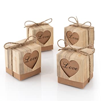 50pcs Love Heart Rustic Kraft Small Cardboard Boxes For Craft Vintage Imitation Bark Gift Candy Bags
