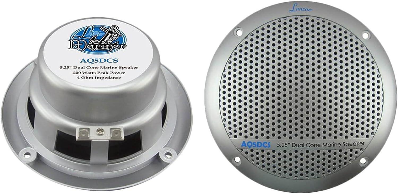 Kenwood - Reproductor de Audio estéreo con 4 Altavoces Lanzar AQ5DCS de 300 W y 5,25 Pulgadas con Doble Cono y Antena de 45 Pulgadas de Enrock Marine