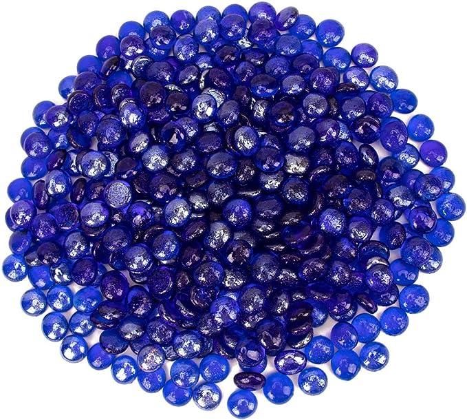18 Pound Fire Glass Beads Fireglass Drops for Gas Fire Pit Fireplace Azure Blue Luster Reflective Decorative Glass Gems Rocks Pebbles Stone for Vase Fillers Fish Tank Aquarium Decoration Flat Azure