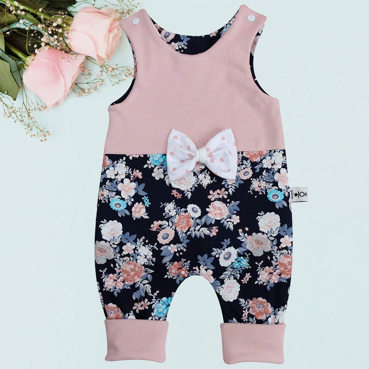 Schleifen Strampler Dunkelblau Blumen Babystrampler Neugeborenen Strampler in Mitwachsgr/ö/ßen handgefertigt in Deutschland