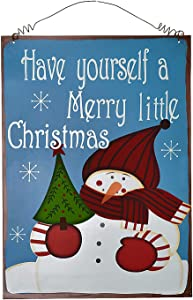 E-view Christmas Signs Metal Merry Xmas Sayings Plaques Vintage Hanging Snowman Sign Holiday Decoration Decorative Ornament for Door Window Home Winter Wall Art Decor (Blue)