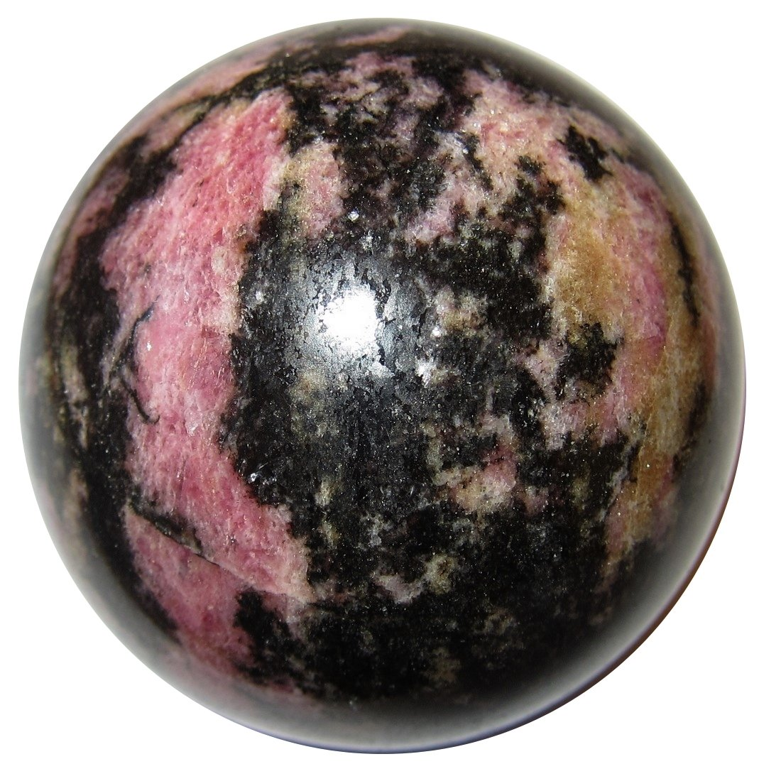 Rhodonite Ball 67 Pink Black Yellow Polished Crystal Madagascar Collection Stone Top Grade Beauty 2.4'' by SatinCrystals