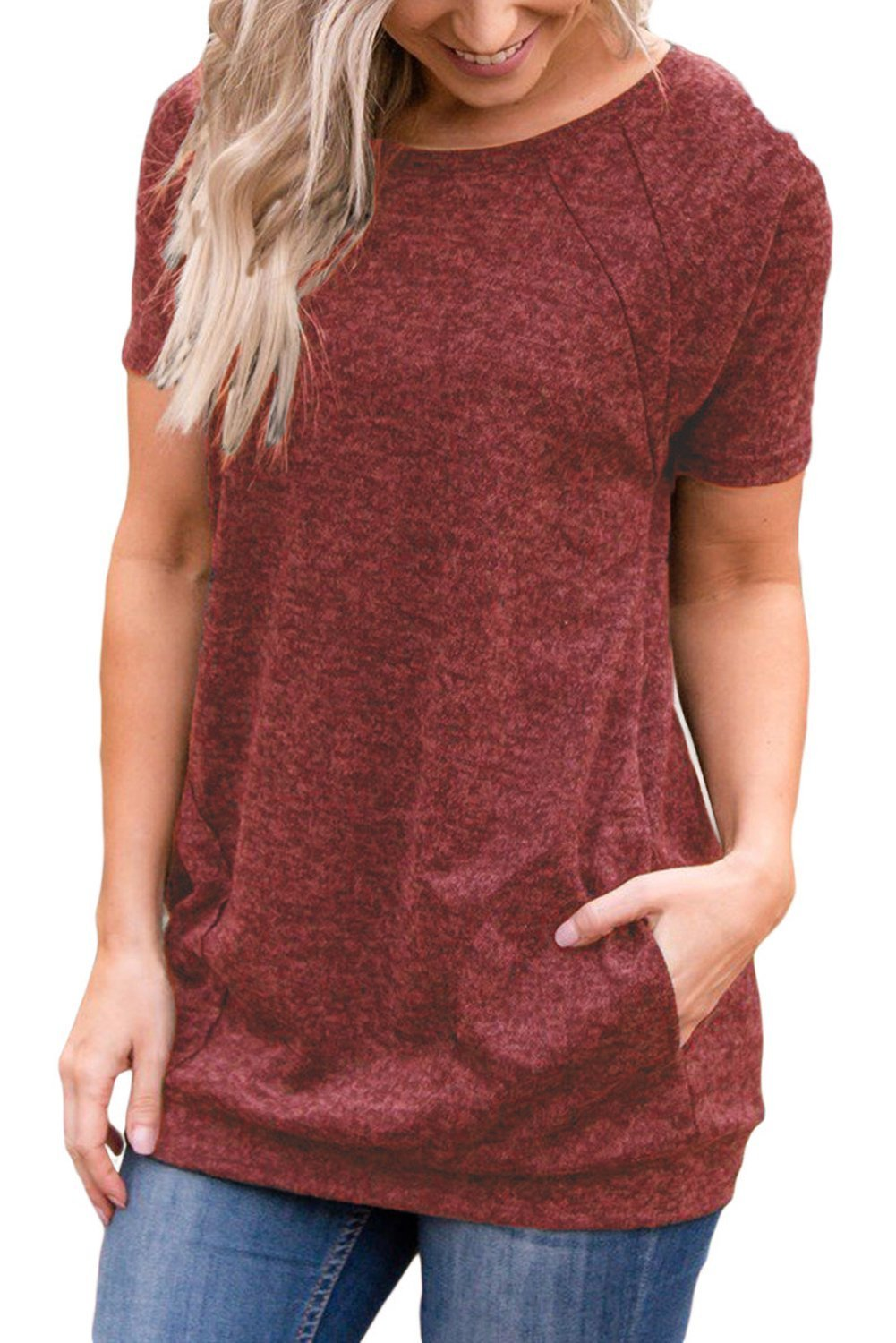 Uniboutique Womens Amazon Sexy Summer Short Sleeve Round Neck Solid Tunics T Shirts Tops Blouses with Pockets Red Wine Medium
