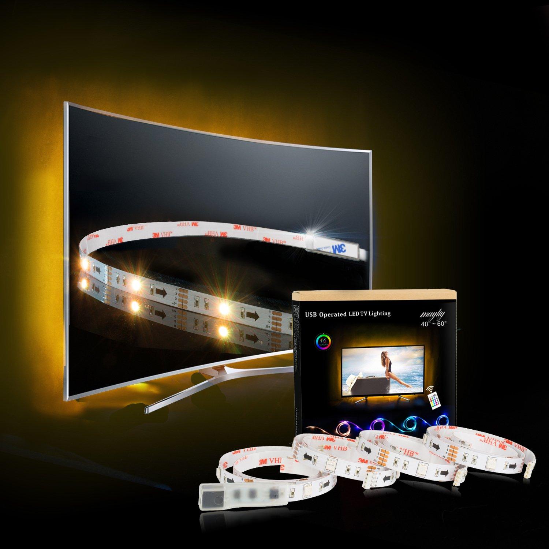 LED TV Backlight, RGB LED Strips 2M/6.56ft USB TV Bias Lighting for 40 to 60 in HDTV Neon Light with Remote.TV Light Strip led biaslight-sb122