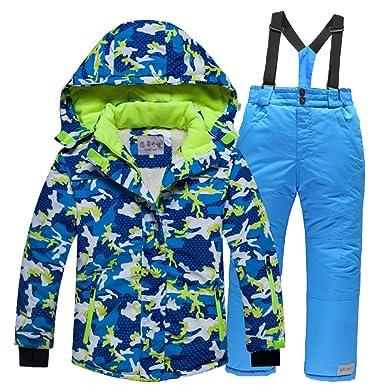 vente pas cher images détaillées publier des informations sur LSERVER Veste de Ski Enfant Fille Garçon Pantalon de Ski Vêtement de Neige  Epaisse Chaud Blouson d'hiver