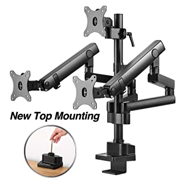 """AVLT-Power Triple 27"""" Monitor Desk Stand - Easy Installation New Top Mounting -Mount Three 15.4 lbs Computer Monitors on 3 Full Motion Adjustable Arms - Organize Surface with Ergonomic VESA Mount"""