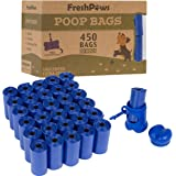 Fresh Paws Dog Poop Bags with Bag Dispenser, Unscented (30 Rolls/450 Waste Bags)