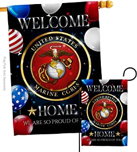 Breeze Decor Welcome Home Marine Garden House Flag-Set Armed Forces Corps USMC Semper Fi United State American Military Veteran Retire Official Banner Small Yard Gift Double-Sided, Made in USA