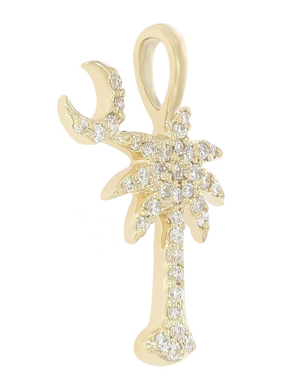 925 Sterling Silver Goldenstar 0.17Ct White Diamond Palm Tree Pendant