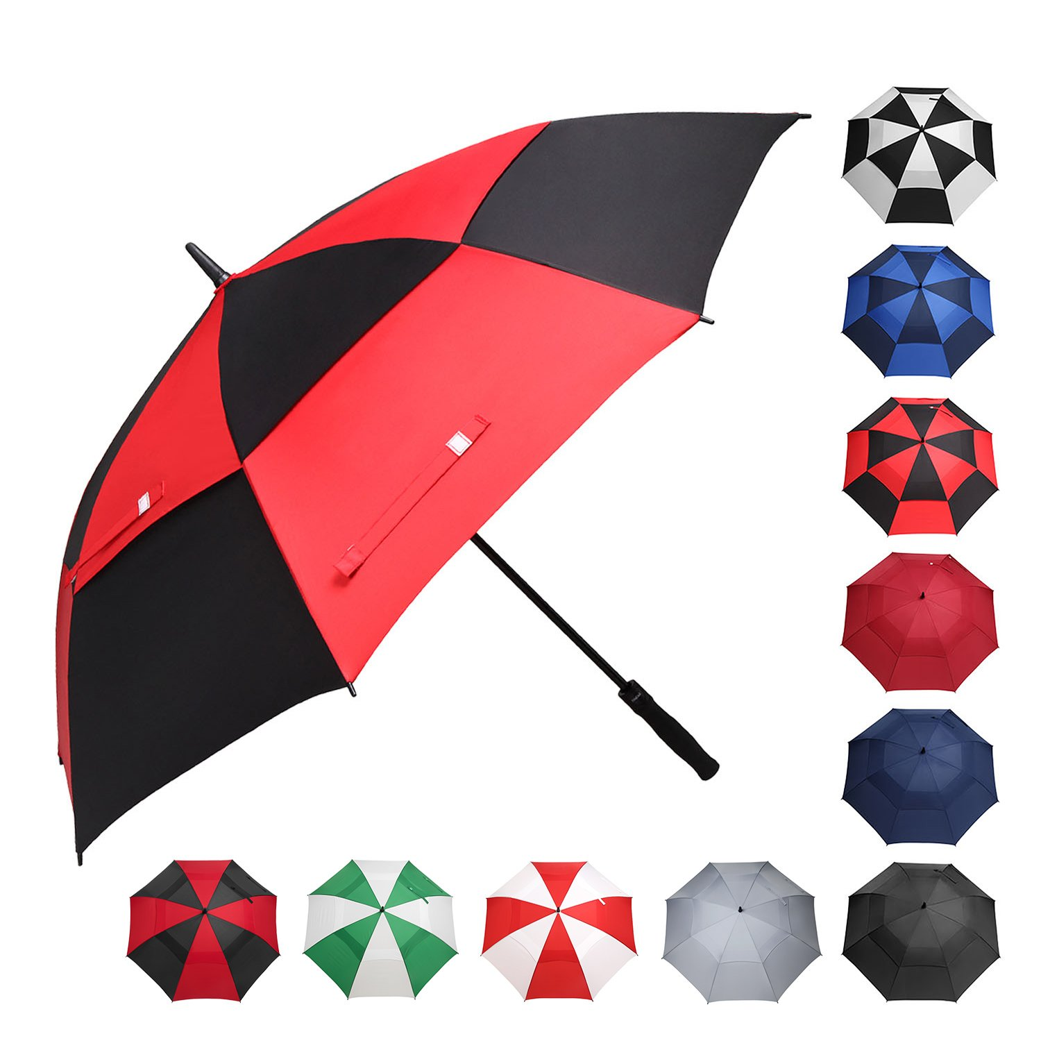 BAGAIL Golf Umbrella 68/62/58 Inch Large Oversize Double Canopy Vented Windproof Waterproof Automatic Open Stick Umbrellas for Men and Women (Black Red, 62 inch) by BAGAIL