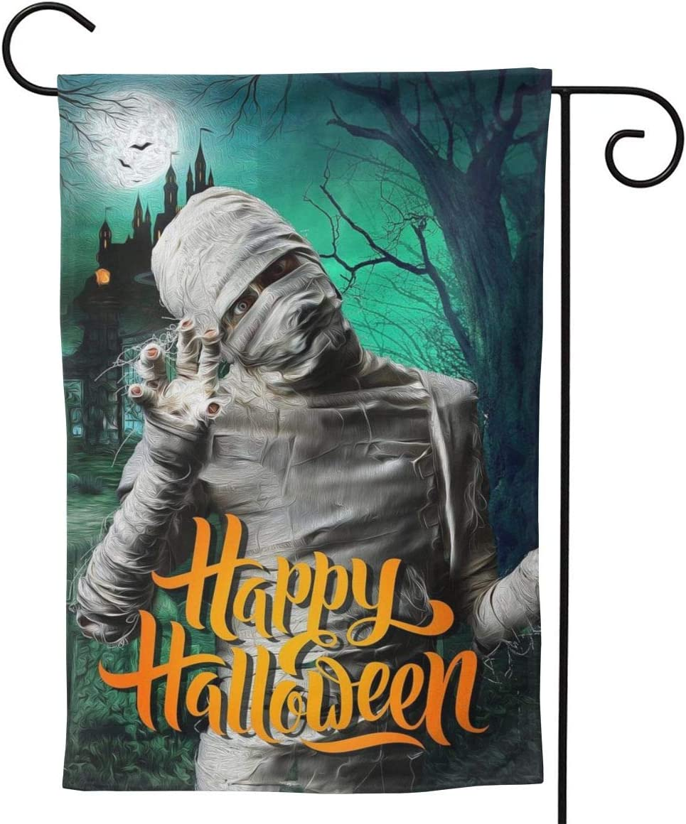 Happy Halloween Garden Flags 12.5x18 inches Zombie with Full Body Bandage in Horror Night House Flags Festival Atmosphere Outside Decoration Banners Garden Terrace