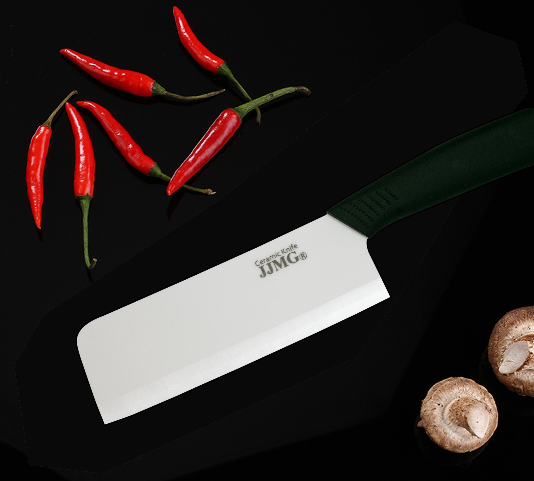 JJMG Ceramic Meat Cleaver Knife Sharp Durable Twice Thicker than Leading Brands non-slip grip Handle Zirconium Blade Cut Slice Dice Steak Pork Chicken Cheese Rust Wear Resistance 8 SHARP & DURABLE LONG LASTING SHARPNESS: Perfect for Cutting Slicing Mincing & Dicing Meat Cheese and Vegetables. Made of High Quality Ceramic, 60 times more Wear-Resistant than Metal knifes. Easy to Maintain, Holds its Sharp Edge. The knifes blades are made by Zirconium, only diamonds are harder, and stays sharp 15 times longer. NO RUST & BPA-FREE: Rust Resistant, Anti-acid and Alkali Material, Non-toxic, No Contamination, No Metal smell, Easy to Use. will retain its original sharpness up to 15 times longer than steel blades. You will never need sharpening any more! NO OXIDATION: Keep your vegetables free from oxidation when cutting with these ceramic knifes. Keep your vegetables meat & food fresh for a longer period of time.