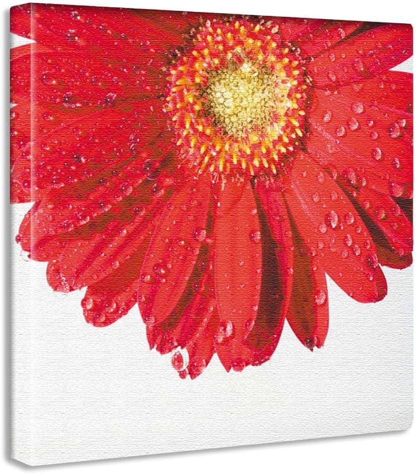 花 雫 アートパネル 30cm × 30cm 日本製 ポスター おしゃれ インテリア 模様替え リビング 内装 ガーベラ 植物 自然 ファブリックパネル yt-300-red-003