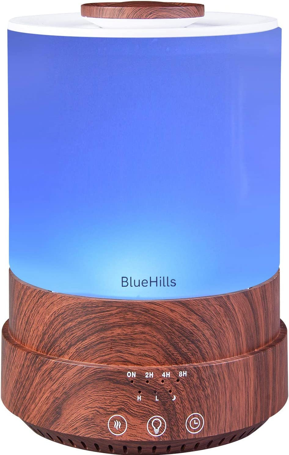 BlueHills 2500 ML XL Essential Oil Diffuser Aroma Humidifier with Timer for Large Home Decor Baby Rooms Big Huge 2.5 L Capacity Long Run with Lights Dark Wood Grain - F003