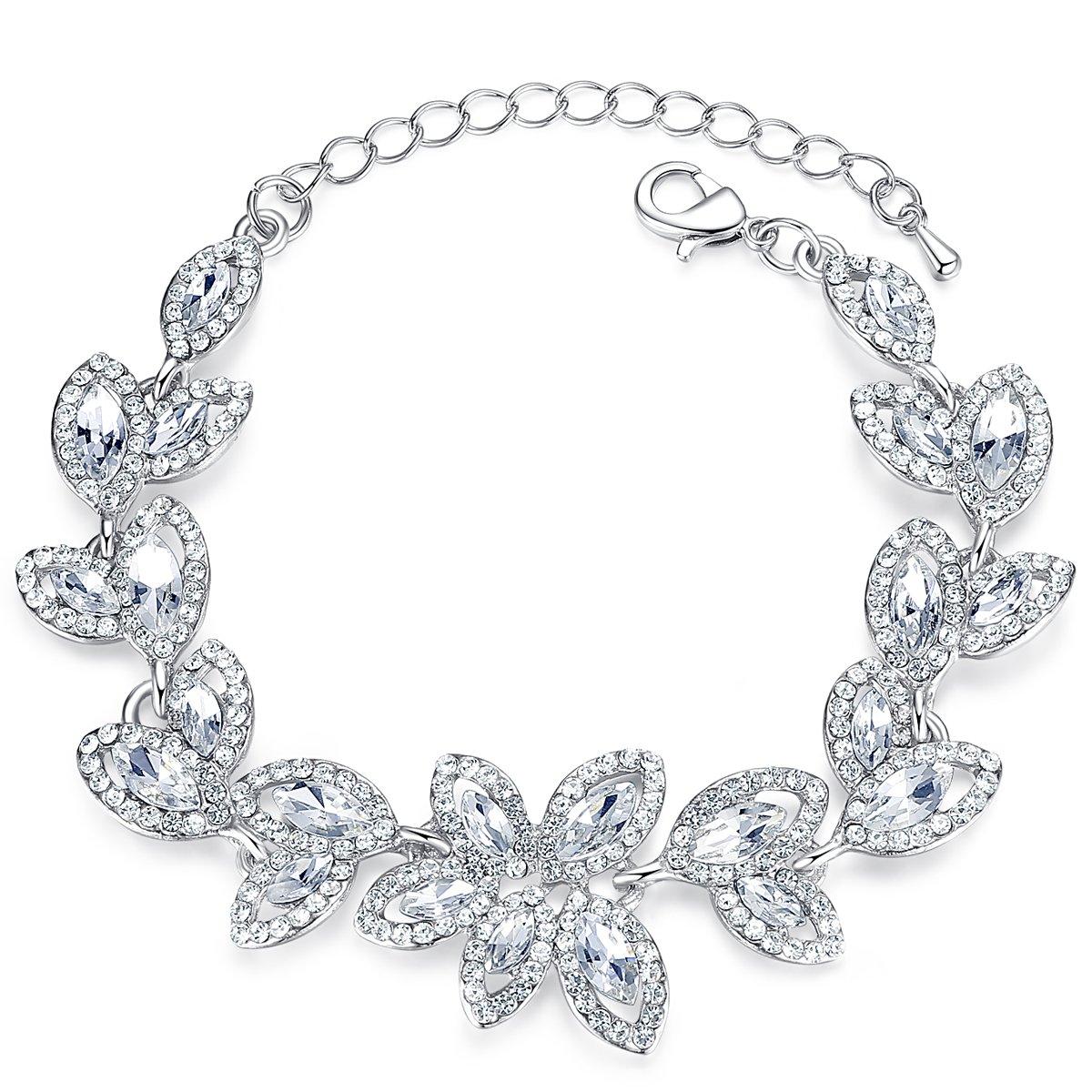 mecresh Silver Bridal Leaf Crystal Bracelet for Women Wedding Jewelry