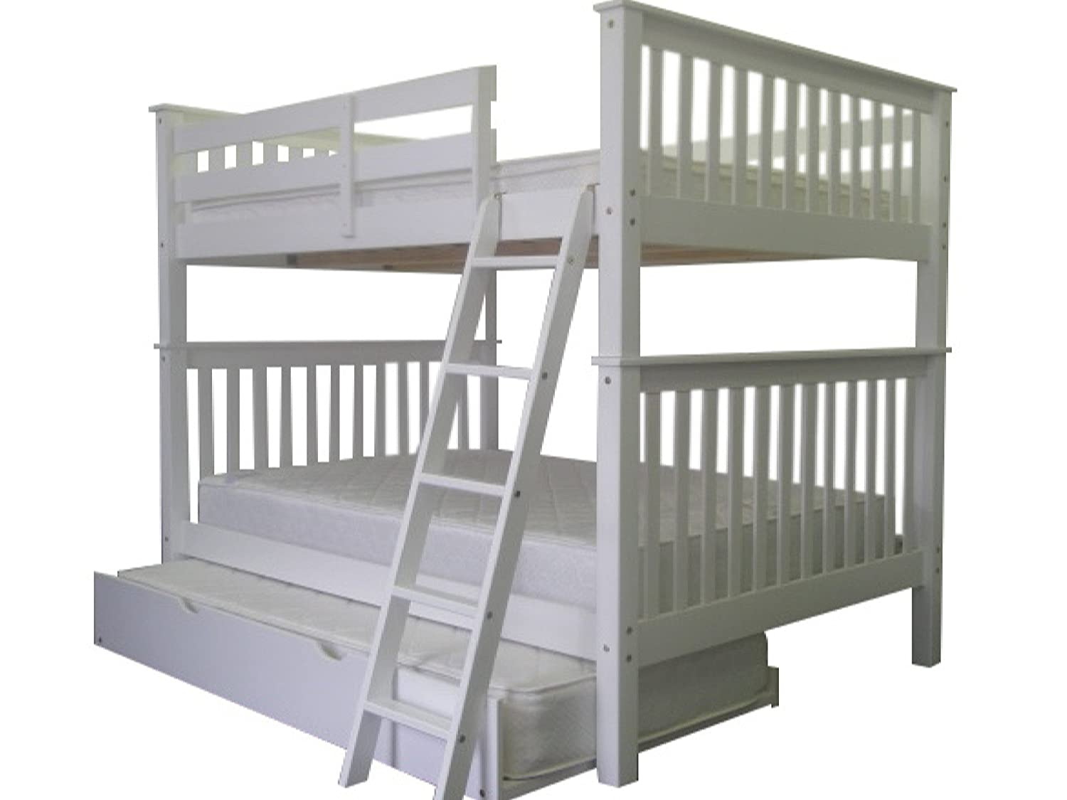 amazoncom bedz king bunk bed with twin trundle full over full mission style white kitchen u0026 dining