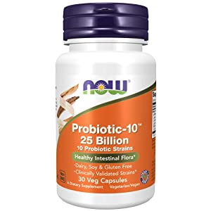 NOW Supplements, Probiotic-10™, 25 Billion, with 10 Probiotic Strains, Dairy, Soy and Gluten Free, Strain Verified, 30 Veg Capsules