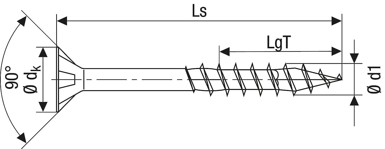 filetage partiel galvanis/é Blank a2j/ Spax/ T de Star Plus 4/Cut 3 /0191010350303 /Vis universelle 0//1050//001//4,0//45// //01 t/ête frais/ée
