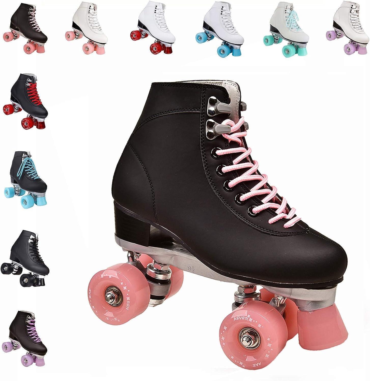 Quad Roller Shoes Men Outdoor Recreation Sports,Black-4 CHSSIH Roller Skates for Women Double Line Skates Unisex Classic High-top Roller Skates for Girls Outdoor Skates for Adults
