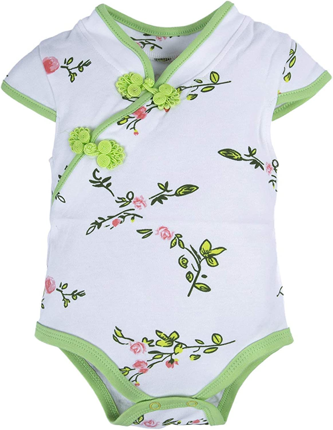 Jackgold Living Clothing Baby Girls 1 Piece Floral Print Short Sleeve Cheongsam Romper