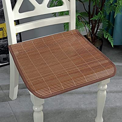 NA Square Chair Cushion,Cool Bamboo Seat Cushion,Ventilated Washable Chair Pads with Ties Indoor and Outdoor Garden Chairs E 50x50cm(20x20inch): Home & Kitchen