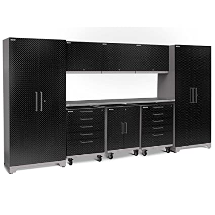 Beau NewAge Performance Plus 2.0 9 Piece Diamond Plate Cabinet Set In Black