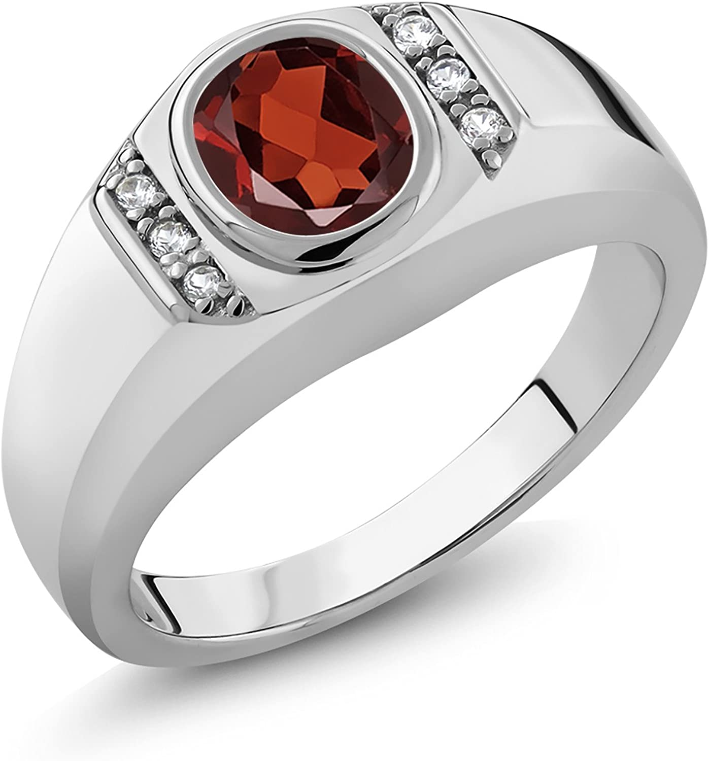 Gem Stone King Men's 925 Sterling Silver Red Garnet and White Created Sapphire Ring (1.26 Ct Oval, Available 7,8,9,10,11,12,13)