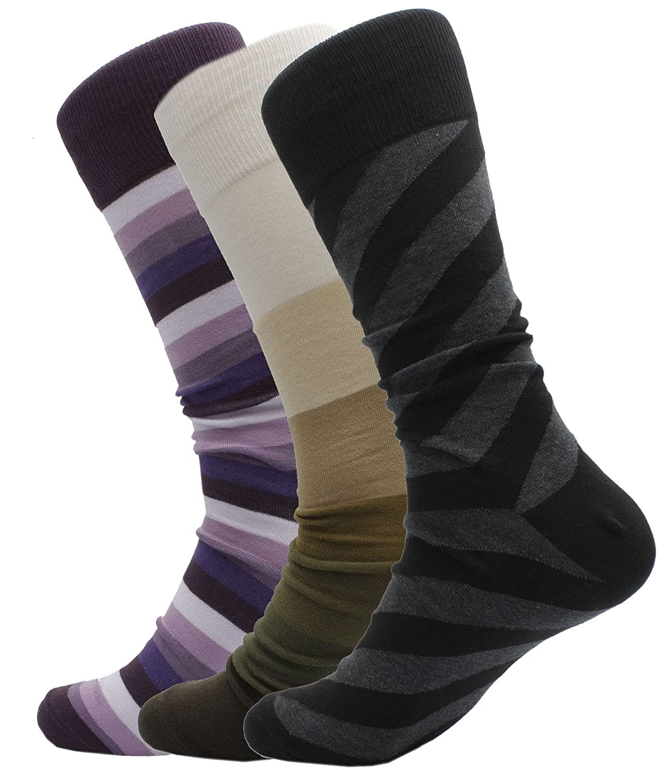 Soxmile Men's Kingsize Business Casual Stripes Socks 3pk soxmile-casual-stripes-3pk