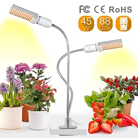 Relassy Lampara Led Cultivo Grow Light 45W Con bombillas de doble Reemplazable E27 y cuello de