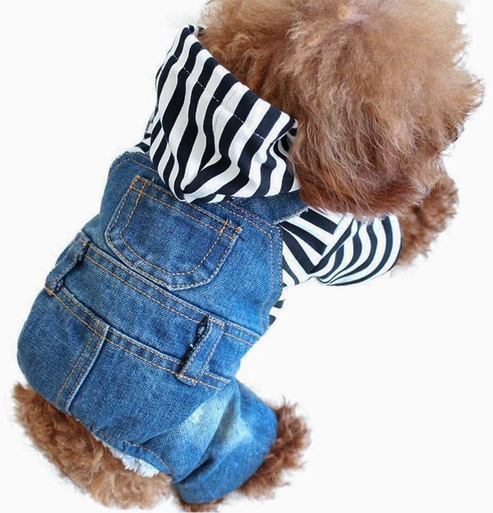 LKEX Small Dog Clothes Costumes Soft Cat Fashion Denim Pants Pet Jean Overalls Clothes Shirt