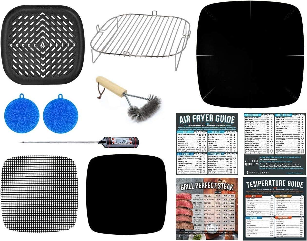 Air Fryer Rack 9.7 inch Toaster Oven Accessories Compatible With Costway 19 QT, Aaobosi 21 QT, Caynel 12.5 quarts, Paula Deen 9.5 QT, Zokop 16.9 QT, Dash Chef + More XXL + Cooking Cheat Sheet Magnets