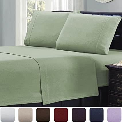Amazoncom Mellanni 100 Cotton 4 Piece Flannel Sheets Set Deep