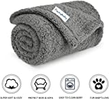 furrybaby Premium Fluffy Fleece Dog Blanket, Soft and Warm Pet Throw for Dogs & Cats Grey (Small (60x75cm))